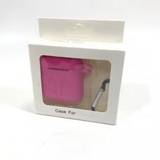 Чехол силиконовый для AirPods (противоударный, мягкий) Ярко-Розовый