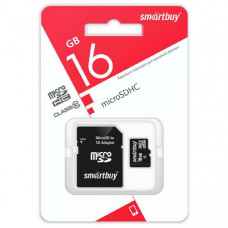 Карта памяти MicroSD Smart Buy 16GB Сlass 10 + SD адаптер