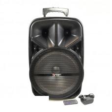 Активная напольная колонка  KIMISO QS-1201Black (Диаметр 12, 20W, вес 6.3кг, габариты: 38х32х56,8см, пульт ДУ, микрофон в комплекте 1шт, питание 9V, Bluetooth 4.1, USB/TF, FM, AUX). Евровилка.