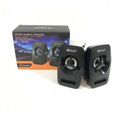 Активная колонка 2.0  Kisonli L-3030 Black, мощность 3 Вт x 2 динамика, корпус пластик, USB, регулятор громкости, размер 13 х 7 х 6 см