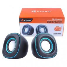 Активная колонка 2.0  Kisonli V350 Black, мощность 1,5 Вт x 2 динамика, корпус пластик, USB, регулятор громкости,  размер 9 х 8 х 8.5 см