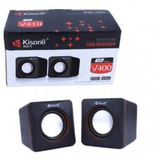 Активная колонка 2.0  Kisonli V400 Черный, мощность 3 Вт x 2 динамика, корпус пластик, USB, регулятор громкости,  размер 7 х 7 х 7 см