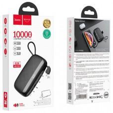 Внешний аккумулятор 10000 mAh HOCO S29, Black (2 USB выход и Type-C выход, встроенный кабель для Lightning, подставка для мобильного телефона).