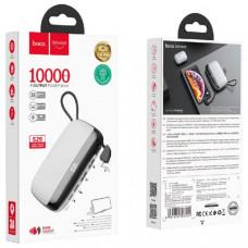 Внешний аккумулятор 10000 mAh HOCO S29, White (2 USB выход и Type-C выход, встроенный кабель для Lightning, подставка для мобильного телефона).