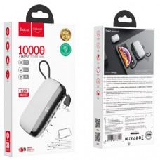 Внешний аккумулятор 10000 mAh HOCO S29, White (2 USB выход и Type-C выход, встроенный кабель для Type-C, подставка для мобильного телефона).
