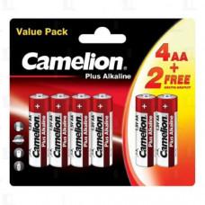 Батарейка Camelion LR06 Plus Alkaline BL4+2 (6/432)