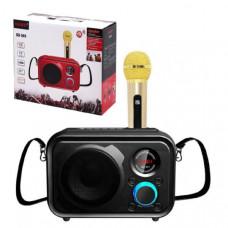 Портативная колонка караоке SDRD SD-501 Black Мощность: 10 Вт   Динамики: 1   Частотный диапазон: 100Гц-18КГц  Воспроизведение с карт TF: Есть  Воспроизведение с USB: Есть  Воспроизведение по Bluetooth: Есть, V4.2  AUX: Есть  3.5мм вход под микрофон: Есть