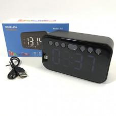 Портативная колонка+часы A5 Black светодиодный дисплей, будильник, Bluetooth 4,2.Рабочий диапазон:10м.Встроенный литиевый аккумулятор 500 мАч.Время зарядки: 3-4ч.Время работы: 4-5ч.Размер: 118ммх68ммх45мм.Micro SD/TF/AUX/FM радио
