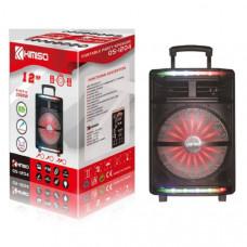 Активная напольная колонка KIMISO QS-1204 Bluetooth, USB, MicroUSB, AUX Размер: высота 54х ширина 37х глубина 31 Дюйм динамика 12 В комплекте: пульт, микрофон