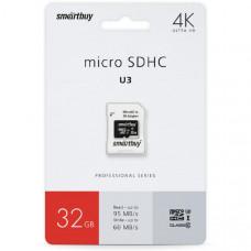 Карта памяти microSDHC Smart Buy 32GB Сlass 10 Pro UHS-I U3 (60/95 Mb/s)+ SD адаптер