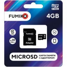 Карта памяти microSDHC FUMIKO 4Gb class 10 (c адаптером SD)