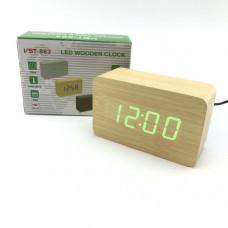 Часы настольные VST 863 Yellow (Зеленые цифры), деревянные (дата+температура) Размер: 100х60х40 мм