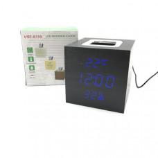 Часы настольные VST 878S-5 Black ( Синий цифры) Размер: высота 10см, ширина 10см