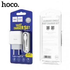 СЗУ-USB Type-C HOCO C72A, 2.1A White (кабель 1м)