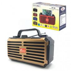 Портативная колонка + антенна телескопическая Fepe FP-38 Gold Bluetooth/FM; Встроенный микрофон; AUX(3.5мм) вход/ USB/ TF до 32Гб; Размер: 185х75х129 мм; Материал: пластик
