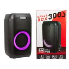 Активная напольная колонка DANCE BOX ELTRONIC 300 с TWS(20-01) динамик 1х8 (Bluetooth, FM, SD, AUX, питание 220В, кабель питания 12 V, встроен. АКБ, Jack 6.3 мм (микрофон, гитара) 2 шт,Audio input 2х канальный, Микрофон беспроводной-1 шт, Пульт Д/У, разме