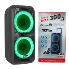 Активная напольная колонка DANCE BOX ELTRONIC 300 с TWS(20-14) динамики 2х10 (Bluetooth, FM, SD, AUX, питание 220В, кабель питания 12 V,  АКБ 7000 mAh (до 5 часов работы), Jack 6.3 мм (микрофон, гитара) 2 шт,Audio input 2х канальный, Микрофон беспроводной