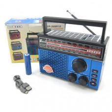 Радиоприемник портативный Fepe FP-260BT-S Blue +солнечная зарядка (AM/FM/USB/SD/TF(MP3), АКБ 18650+возможность питания 2хR20, сбоку фонарь LED(3 режима), солнечная панель, размер:18х12см)