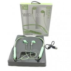 Гарнитура вакуумная Bluetooth SPORTS U100 Green Диапазон передачи: 10-15м.  Время воспроизведения музыки:  более 5 часов. Емкость аккумулятора: 300мАч