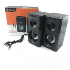 Активная колонка 2.0  Kisonli U-9001 Black, мощность 3 Вт x 2 динамика, корпус МДФ, USB, регулятор громкости, размер 20 х 11 х 10 см