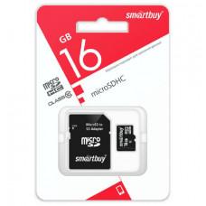 Карта памяти microSDHC Smart Buy 16Gb Class10 UHS-1 (адаптер SD)
