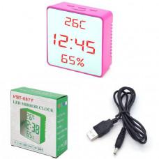 Часы настольные VST 887Y-1 (Красные цифры) с темп. Размер: 80х80х35 мм
