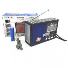 Радиоприемник портативный FP-251BT-S Bluetooth, FM, microSD, USB, AUX. Размер: 15,9х5,5х10мм. В корпусе установлен фонарик и на верхней панели солнечная батарея.