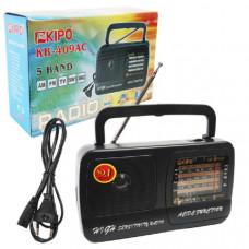 Радиоприемник KIPO KB-409АС (Аналоговый, FM, СВ, КВ, диспл.стрелочный, пит.сетевой+3хR20, вых.науш.)