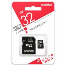 Карта памяти microSDHC Smart Buy 32Gb Class10 UHS-1 (адаптер SD)