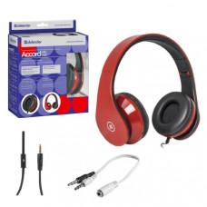 Гарнитура проводная полноразмерная Defender Accord HN-047, красная. Накладные, закрытого типа. Микрофон на проводе. Разъём: основной 3.5 mm (4 пин) + адаптер 2 x 3.5 mm стерео. Диапазон частот: 15-20000 Гц. Сопротивление: 32 Ом. Регулятор громкости. Длина