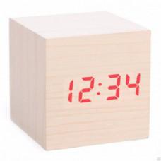 Часы настольные VST 869 Yellow (Красные цифры), деревянные (дата+температура, будильник). Размер: 63х63х63 мм