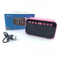 Портативная колонка+часы A5 Pink светодиодный дисплей, будильник, Bluetooth 4,2.Рабочий диапазон:10м.Встроенный литиевый аккумулятор 500 мАч.Время зарядки: 3-4ч.Время работы: 4-5ч.Размер: 118ммх68ммх45мм.Micro SD/TF/AUX/FM радио