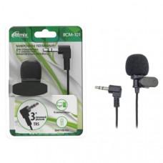 Микрофон проводной RITMIX RCM-101, петличный микрофон с внешним питанием. Подходит для диктофонов, имеющих электрическое питание на гнезде микрофонного входа (Plug in Power).