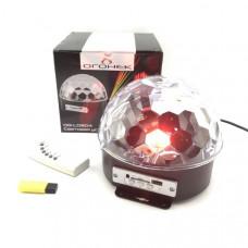 Диско шар MP3 Огонек OG-LDS04(381) Динамики 2шт по 5Вт. 6 LED - по 1Вт/подстраиваются под звучание музыки. USB/SD. Пульт ДУ. Размер: 183х183х154мм